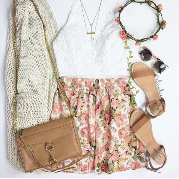 top white tumblr cute pretty love lace bra bralette tumblr outfit skirt style fashion bag cardigan hair accessory jewels shirt sunglasses shoes