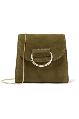 bag shoulder bag suede green army green