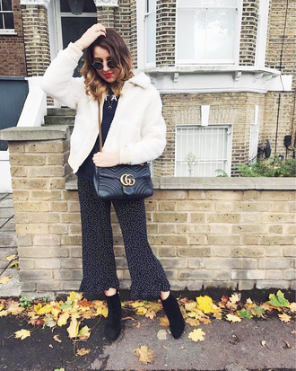 pants tumblr polka dots cropped pants jacket white jacket faux fur jacket boots ankle boots black boots sunglasses