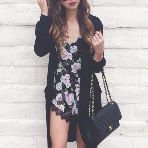 jumpsuit black white