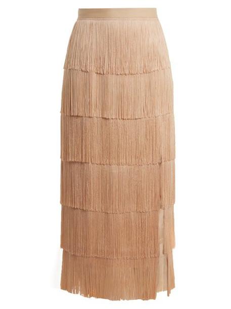 Raey - Slit Front Fringed Silk Midi Skirt - Womens - Nude