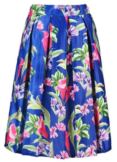 Blue Floral High Waist Midi Skirt