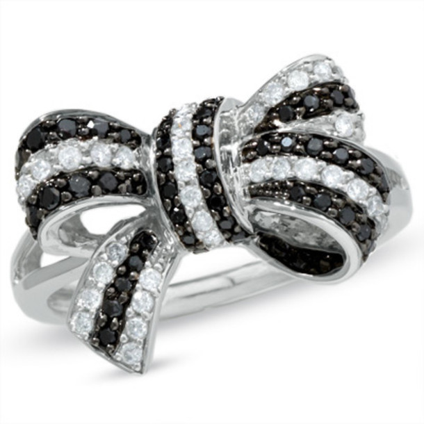 Jewels Ring Black And White Jewelry Sterling Silver Ring Zales