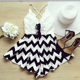 romper chevron black and white fashion style hat jumpsuit shoes sunglasses skirt black white dress all black everything shorts top bag fashion inspo white top girl girly crop tops short