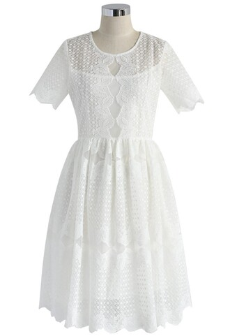 dress lace dress white floral embroidered