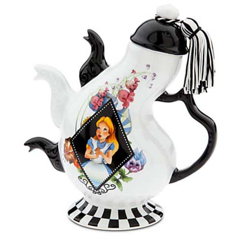 Amazon.com | Disney Parks Alice in Wonderland Mad Hatter Pattern Ceramic Triple Spout Teapot: Teapots