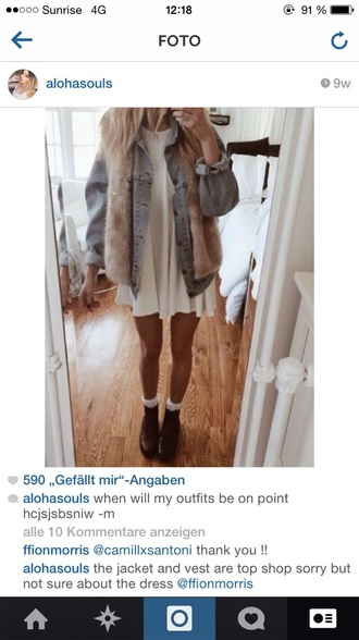 dress fur white vintage modern bohemian boho dress outfit cute black shoes shoes classic elegant home decor black blonde hair tan blue jeans jacket fur vest cute dress bag home accessory jewelry socks
