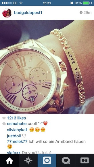 jewels bracelet gold gold bracelet summer tumblr celebrity michael kors watch i love you celeb celeb style tumblr post tumblr girl luxury
