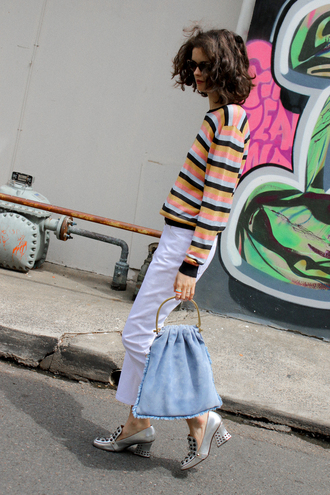 by chill blogger sweater jeans sunglasses jewels bag shoes mid heel pumps white pants blue bag striped sweater pilgrim shoes high heel loafers