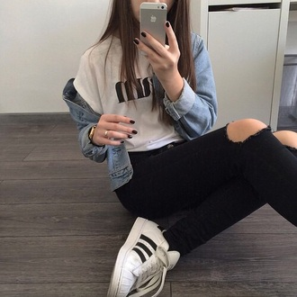 top urban t-shirt white style fashion jeans shoes cool asdfghjkl jacket denim iphone demin ripped black edgy pants shirt earphones coat denim jacket grunge adidas adidas superstars watch ring