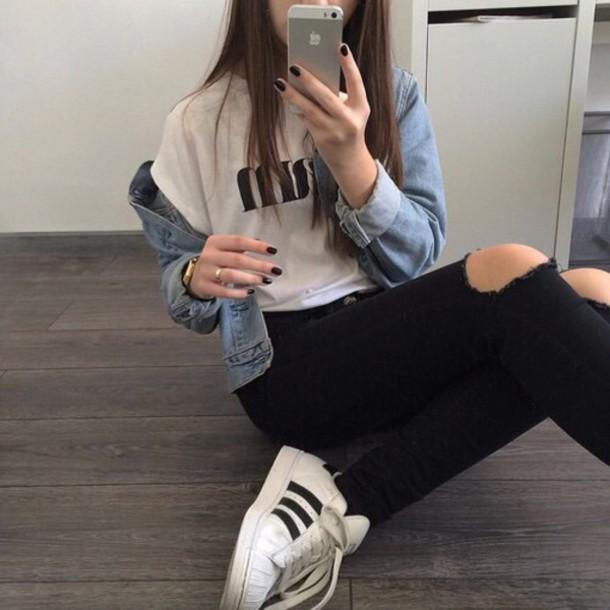 top urban t-shirt white style fashion jeans shoes cool asdfghjkl jacket denim iphone demin ripped black edgy pants pants shirt earphones coat denim jacket grunge adidas adidas superstars watch ring