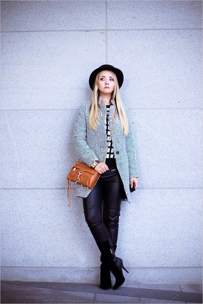 my blonde gal bag sweater pants shoes jewels hat