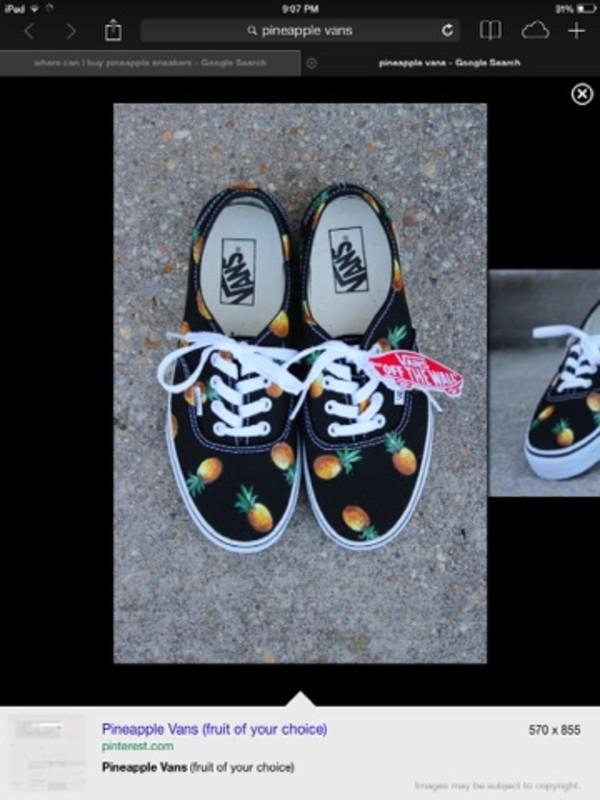 shoes black and pineapple vans/sneakers pineapple vans
