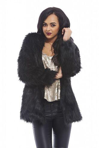 faux fur coat black coat www.ustrendy.com warm coat black faux fur vintage style coat