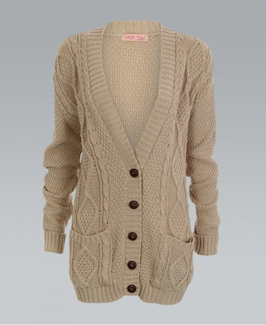 Krisp chunky cable knit button down stone cardigan