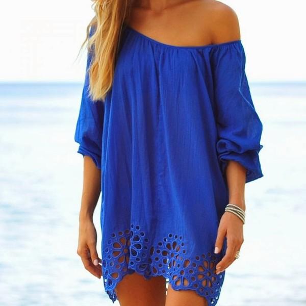 dress blue off the shoulder dress blue dress summer dress summer outfits summer bikini swimwear swimwear clothes