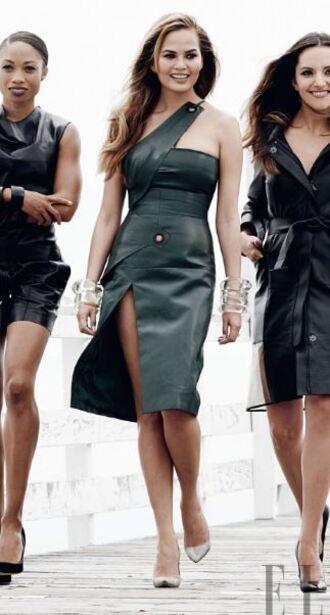 dress leather leather dress editorial pumps chrissy teigen slit dress
