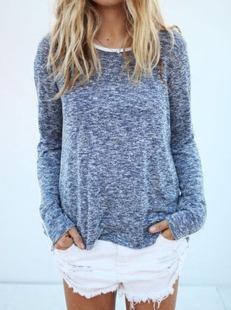 shirt marled blue grey gray blonde hair layer layered tumblr easy