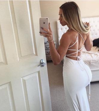dress white white dress bodycon bodycon dress tie up dress lace up dress maxi dress midi dress
