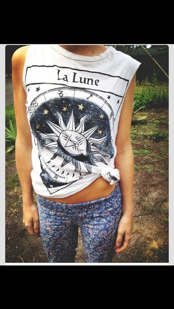 shirt white la lune black and white sun zodiac
