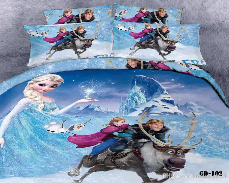 Wholesale Bed In A Bag - Buy 3D Cartoon Kid Bedding Sets Princess Anna Olaf Frozen Home Textiles Duvet Covers Flat Sheet Pillow Cases 100% Cotton Cheap Bed In A Bag, $109.95 | DHgate