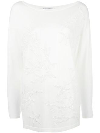 jumper women embellished white sweater