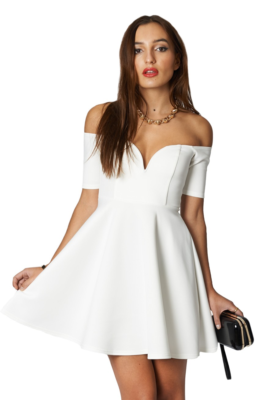 c3289f4aef7 Papa Don t Preach Cream Off The Shoulder Skater Dress