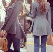 coat,grey,winter outfits,cold,jacket,grey jacket,cute,warm,nice,frilly,wool,peacoat dress,long peacoat,grey coat,gris,menteau,beautiful coats,hi-low,buttons,peplum,pea coat,classy,perfecto,lovely,elegant,casual,grey cardigan,bag,grey pea coat