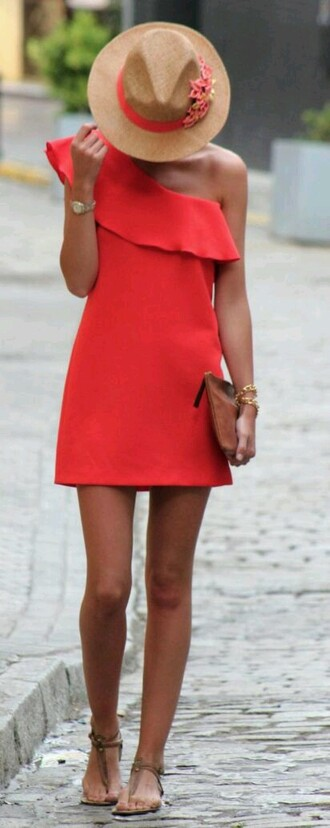 dress one shoulder corail coral dress