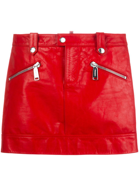 Dsquared2 skirt mini skirt mini women leather cotton red