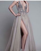 dress,long prom dress,silver,grey,v neck dress,slit dress,formal party dresses,formal dresses evening,rhinestones dress