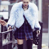 jacket,fur,faux fur,blue,shirt,miley cyrus,jumper,pretty,fluffy,sweater,dress,plaid dress,furry bomber jacket