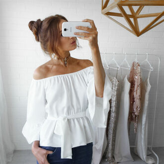 top spring top fashion girly off the shoulder chic