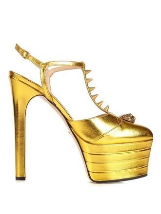 metallic angel sandals platform sandals leather gold shoes