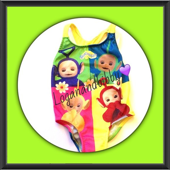 90's swimwear children toddler colourful teletubbies,