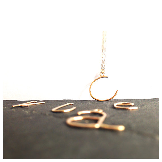 Custom Initial Monogram Gold Necklace by camilaestrella on Etsy