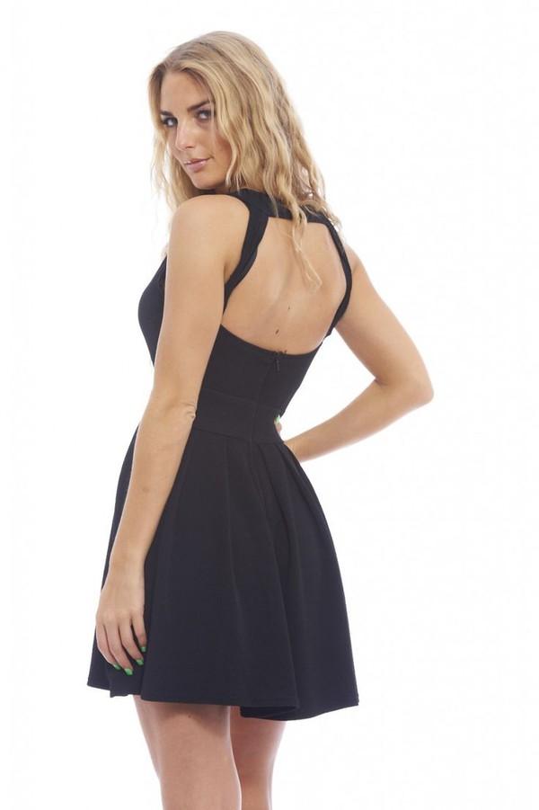 black dress black skater dress cut out back dress little black dress little black dress open back dresses www.ustrendy.com