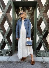 damsel in dior,blogger,jacket,dress,bag,pajamas,shoes,denim jacket,furry shoes,slippers,maternity dress