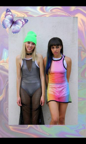 rainbow mesh dress