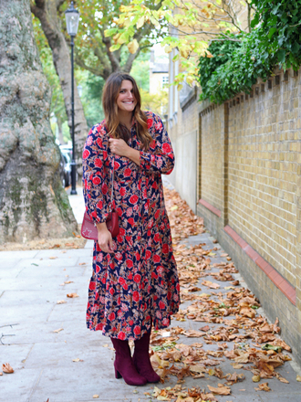 fashion foie gras blogger dress shoes bag fall outfits boots plus size midi dress printed dress
