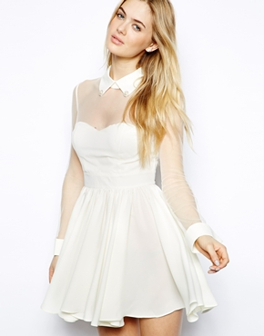 Arrogant Cat | Arrogant Cat London Skater Dress with Sheer Top at ASOS