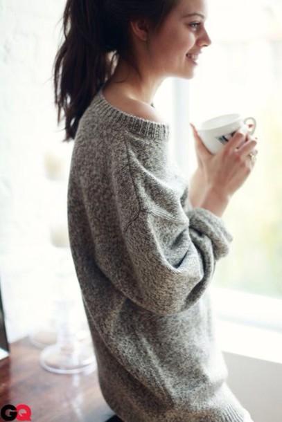 Sweater: grey sweater, oversized sweater, cozy, cozy ...