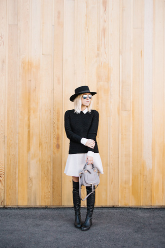 damsel in dior blogger sweater skirt shirt hat bag knee high boots