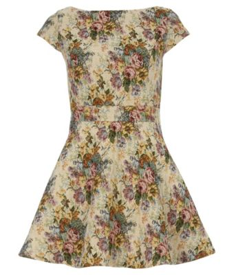 Petite Cream Floral Tapestry Cap Sleeve Skater Dress