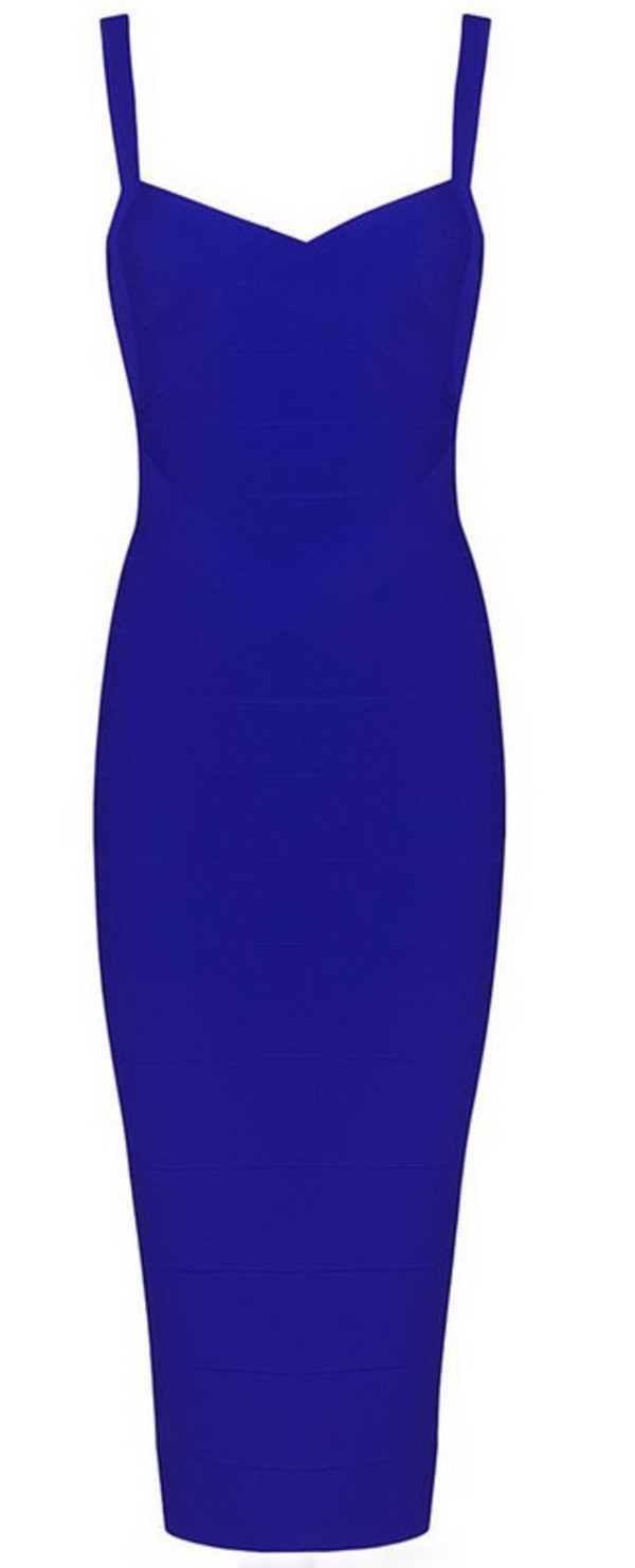 Crisscross Midi Bandage Dress Blue