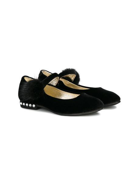 Monnalisa embellished leather black velvet shoes