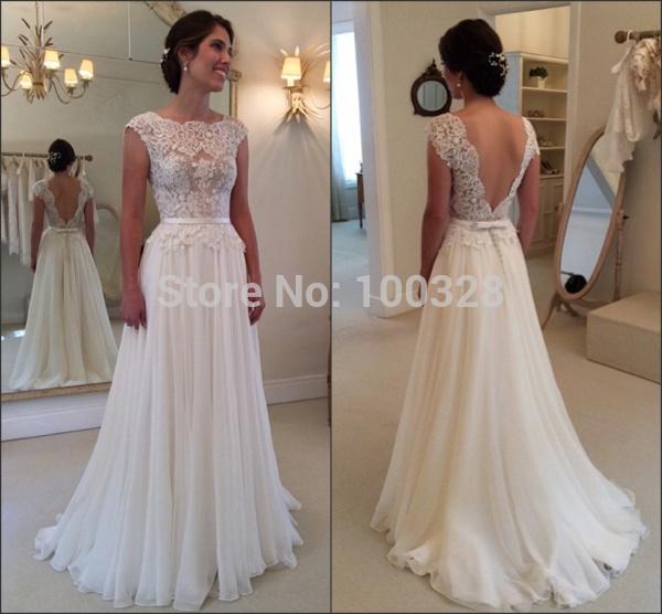Simple Elegant Tulle A Line Scoop Neck Cap Sleeves Lace: Aliexpress.com : Buy New Elegant Bridal Gown Cap Sleeve