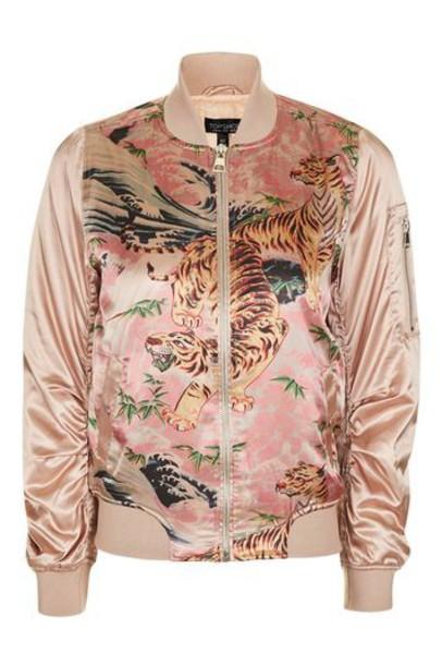 Topshop jacket bomber jacket tiger pink
