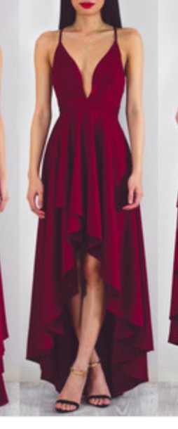 Dress Maroonburgundy High Low Dress Burgundy Dress Formal Dress