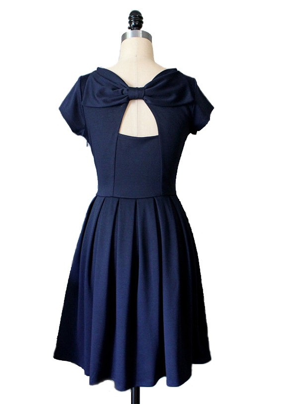 Round neckline cup shoulder with bow knot sheath dress 50s style